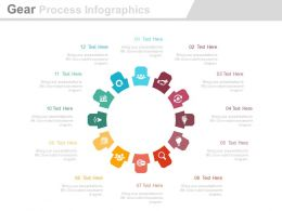 app Twelve Staged Gear Process Infographics Flat Powerpoint Design