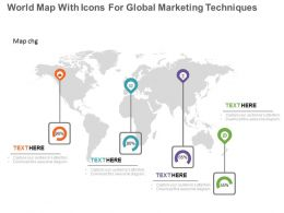 app World Map With Icons For Global Marketing Techniques Flat Powerpoint Design
