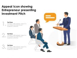 Appeal Icon Showing Entrepreneur Presenting Investment Pitch