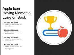 Apple Icon Having Memento Lying On Book