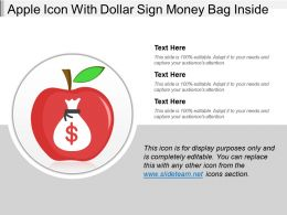 Apple Icon With Dollar Sign Money Bag Inside