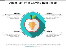 Apple Icon With Glowing Bulb Inside