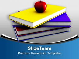 Apple On Stack Of Books Education PowerPoint Templates PPT Themes And Graphics 0213