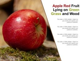 Apple Red Fruit Lying On Green Grass And Wood