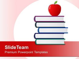 Apple With Stack Of Books Education Powerpoint Templates Ppt Themes And Graphics 0213