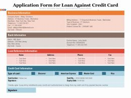 Application Form For Loan Against Credit Card