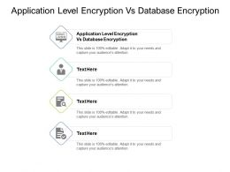 Application Level Encryption Vs Database Encryption Ppt Powerpoint Presentation File Guide Cpb