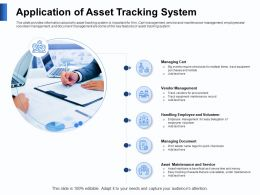 Application Of Asset Tracking System Cart Powerpoint Presentation Brochure