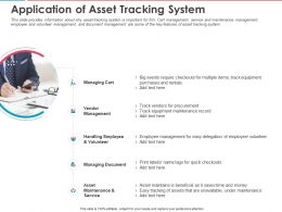 Application Of Asset Tracking System Ppt Powerpoint Presentation File Objects