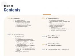 Application Programming Interfaces Overview Table Of Contents Ppt Powerpoint Presentation Model Diagrams