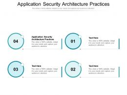 Application Security Architecture Practices Ppt Powerpoint Presentation File Professional Cpb