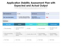 Application Stability Assessment Plan With Expected And Actual Output
