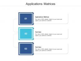 Applications Matrices Ppt Powerpoint Presentation Model Demonstration Cpb