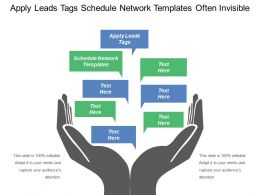 Apply Leads Tags Schedule Network Templates Often Invisible