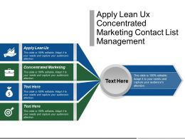 Apply Lean Ux Concentrated Marketing Contact List Management