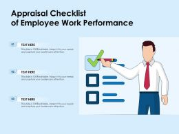 Appraisal Checklist Of Employee Work Performance
