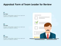 Appraisal Form Of Team Leader For Review