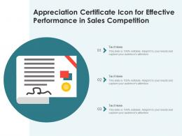 Appreciation Certificate Icon For Effective Performance In Sales Competition