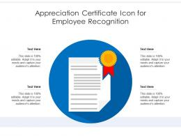 Appreciation Certificate Icon For Employee Recognition