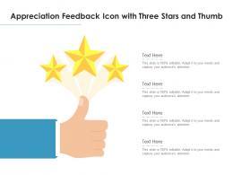 Appreciation Feedback Icon With Three Stars And Thumb