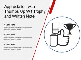 Appreciation With Thumbs Up Wit Trophy And Written Note