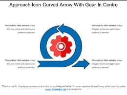 Approach Icon Curved Arrow With Gear In Centre
