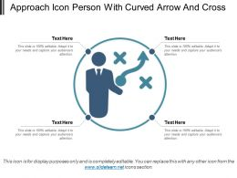 Approach Icon Person With Curved Arrow And Cross