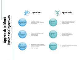 Approach To Meet Business Objectives