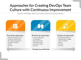Approaches For Creating Devops Team Culture With Continuous Improvement