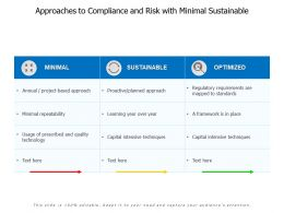 Approaches To Compliance And Risk With Minimal Sustainable