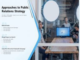 Approaches To Public Relations Strategy