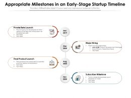 Appropriate Milestones In An Early Stage Startup Timeline