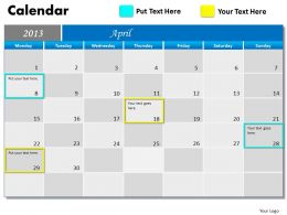 April 2013 Calendar PowerPoint Slides PPT templates