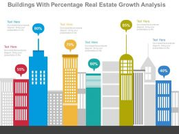apt Buildings With Percentage Real Estate Growth Analysis Flat Powerpoint Design
