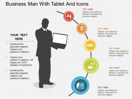 apt Business Man With Tablet And Icons Flat Powerpoint Design