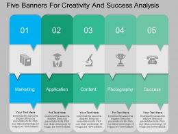 apt Five Banners For Creativity And Success Analysis Flat Powerpoint Design