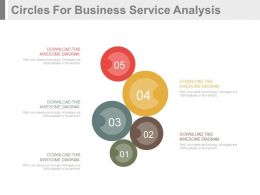 apt Five Staged Circles For Business Service Analysis Flat Powerpoint Design