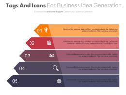 apt Five Tags And Icons For Business Idea Generation Flat Powerpoint Design
