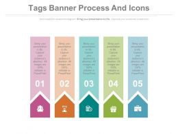 apt Five Tags Banner Process And Icons Diagram Flat Powerpoint Design