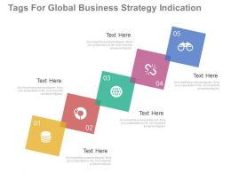 apt Five Tags For Global Business Strategy Indication Flat Powerpoint Design