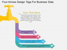 apt Four Arrows Design Tags For Business Data Flat Powerpoint Design