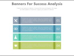 apt Four Banners For Success Analysis And Management Flat Powerpoint Design
