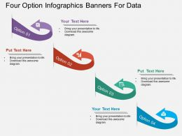 apt Four Option Infographics Banners For Data Flat Powerpoint Design