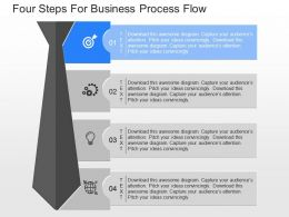 apt Four Steps For Business Process Flow Powerpoint Template