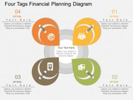 apt Four Tags Financial Planning Diagram Flat Powerpoint Design
