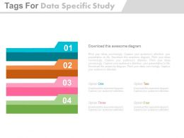 apt Four Tags For Data Specific Study And Analysis Flat Powerpoint Design