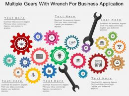 apt Multiple Gears With Wrench For Business Application Flat Powerpoint Design