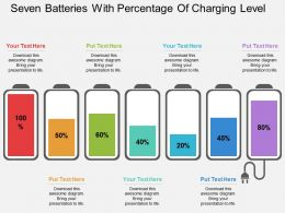 apt Seven Batteries With Percentage Of Charging Level Flat Powerpoint Design