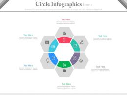apt Six Staged Circle Infographics And Icons Flat Powerpoint Design