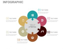 apt Six Staged Circular Infographics For Global Marketing Flat Powerpoint Design